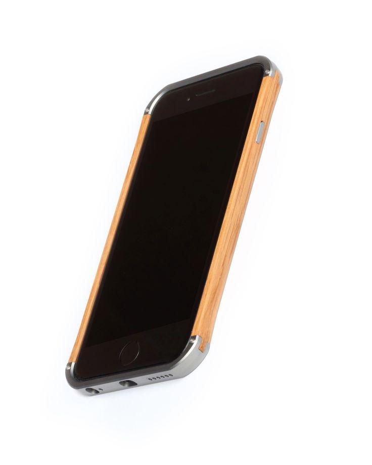 "Hand finished Wood & Aluminum iPhone case ""Frozen Titanium gray & Oak"" combination :)"