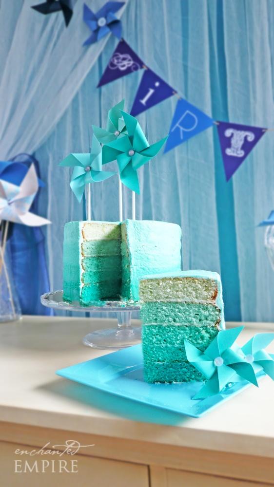 butter hearts sugar: Pretty Teal Ombre Cake