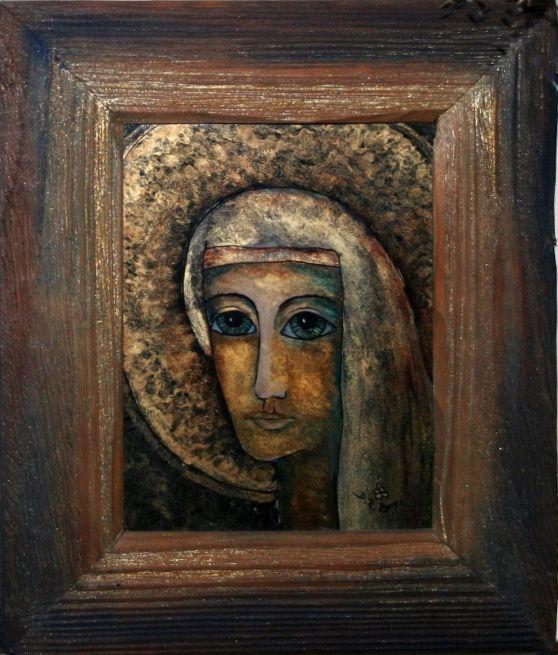 MADONNA techn.malowane na szkle Danuta Rożnowska-Borys