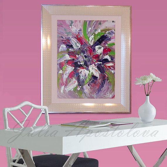 #AbstractPainting #OriginalArt, #WhiteFrame #SilverFrame #FloralArt #CloseUpdetails #Artdetails #Modern #FramedPainting #WhiteandPink #PinkArt #PurpleArt #ChristmasGifts #LargeWallArt by #JuliaApostolova on #Etsy