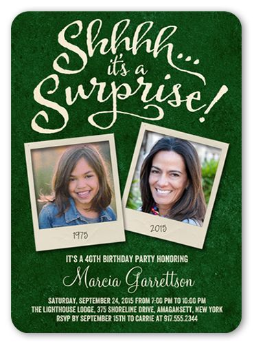Birthday Invitations: Snapshot Surprise, Rounded Corners, Green