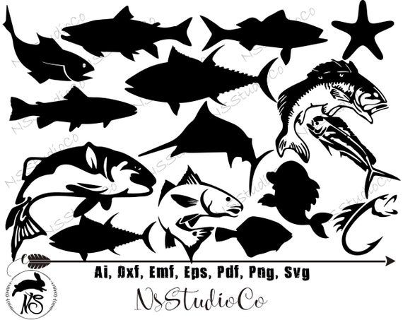 Fish Svg For Cricut Silhouette Fish Silhouette Fish Png Clipart Fish Dxf Vector Files Fish Fishing Svg Fish Silhouette Clip Art