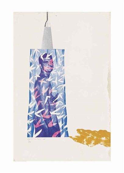 Artwork by David Hockney, Cleanliness is next to Godliness, Made of screenprint in colours, from photographic and hand-cut stencils