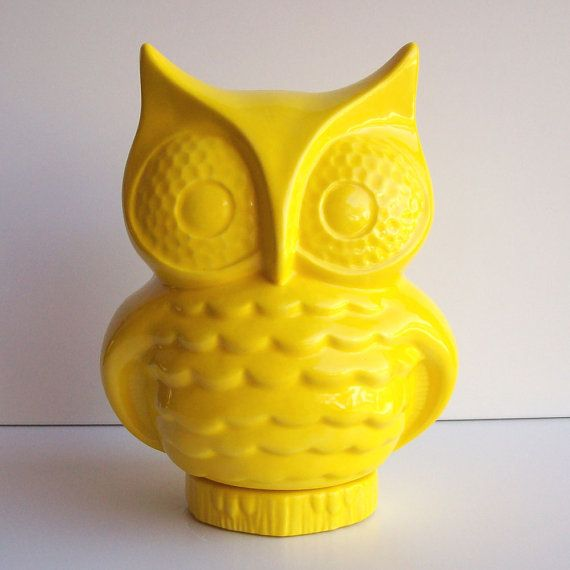 owl bank owl piggy bank money box vintage design lemon yellow retro home decor owl room decor nursery decor ceramic owl figurine - Yellow Decor