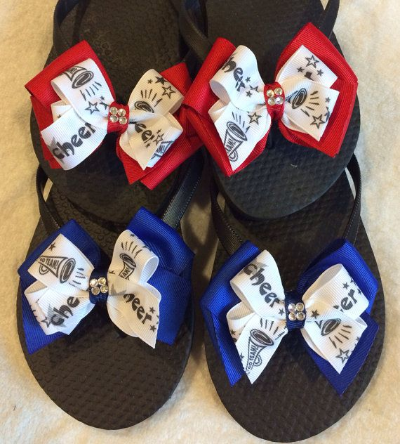 Cheer flip flops by bowlicious4me on etsy cheerleading for Cheerleading decorations