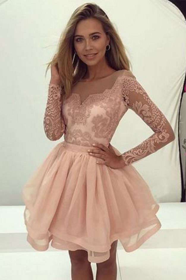 blush pink long sleeves A-line short homecoming prom#Short Homecoming Dress #HomecomingDresses #Short PromDresses #Short CocktailDresses #HomecomingDresses