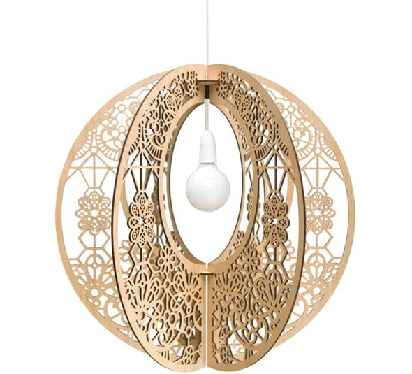 Lace Grandelier shown in accredited Tasmanian Oak. The Lace's filigree design alludes to Tasmania's discovery and subsequent arrival of colonial handicrafts. 600mm diameter. Also available in 450mm. Designed and made in Tasmania. DELIVERY please allow 10 days max for your hand-finished Grandelier.