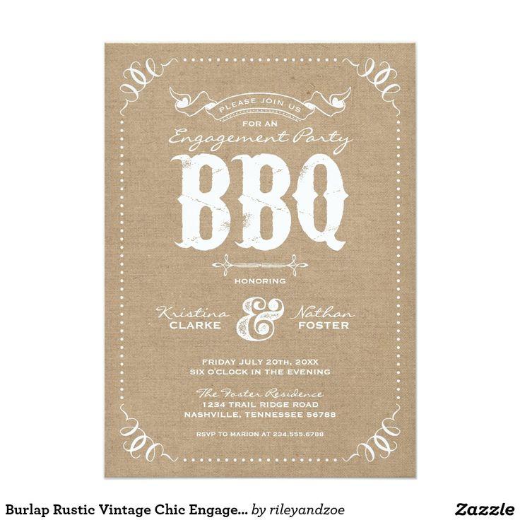 Burlap Rustic Vintage Chic Engagement Party BBQ