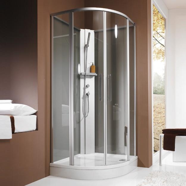 Duschospot is een compleet douchesysteem met een rondom afgesloten douchecabine van glas, een smal ruggedeelte van aluminium, kant en klaar uitgerust met merkarmatuur en sproeiset, als ook een acryldouchebad met zijafscherming. Gereed voor aansluiting, flexibel. Al deze componenten maken Duschospot X tot een ideale douche die geplaatst kan worden in een uitgebouwde kelder, in het weekendhuis of in de gastenkamer. Geen ingewikkelde installatie, geen betegelde muren.