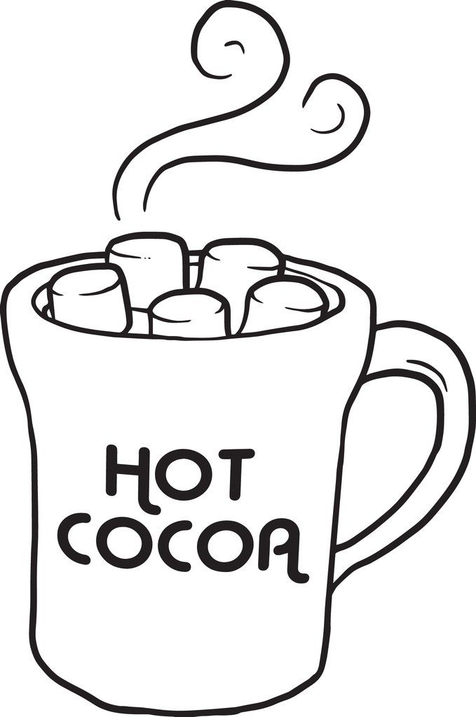 Printable Hot Chocolate Winter Coloring Page For Kids Coloring