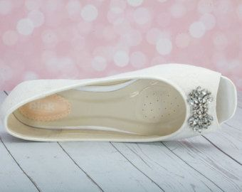 Encajes planos zapatos de la boda algo azul elige por Parisxox