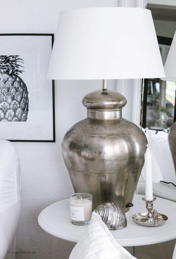 Große elegante Tischlampe mit orientalischem Touch, Antique Silver