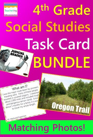 4th grade Social Studies Task Card YEAR Bundle with matching photos of Social Studies vocabulary. 11 Social Studies task cards for the year included: Abolition & Suffrage Reform Movements Westward Expansion Early Explorers (Hudson, Balboa, Ponce de Leon) Early Explorers (Columbus, Cabot, Cartier) Important USA Places Bill of Rights Branches of Government Key People of the American Revolution Comparing Colonies {New England, Middle, & Southern} Colonial Jobs Economics Native Americans