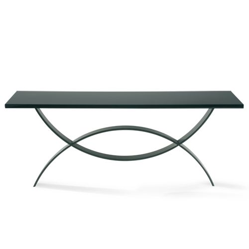Porta Romana - CCT10L, Fishtail Console Table, Large - Bronzed with Black Lacquer Top