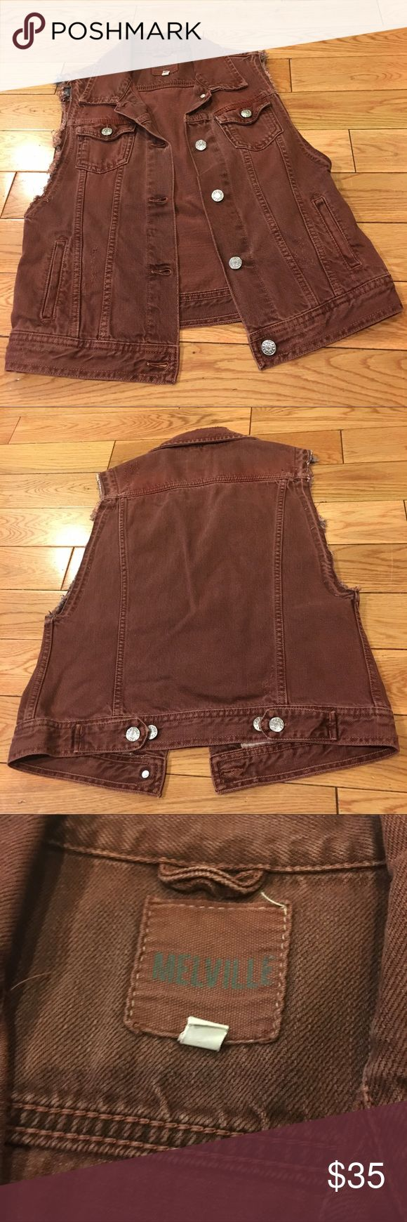 Brandy Melville vest Pre loved Brandy Melville denim button down vest size L. Runs small. Brandy Melville Jackets & Coats Vests