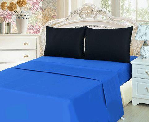 Tache 3 4 Piece Deep Blue Black Bed Sheet Set