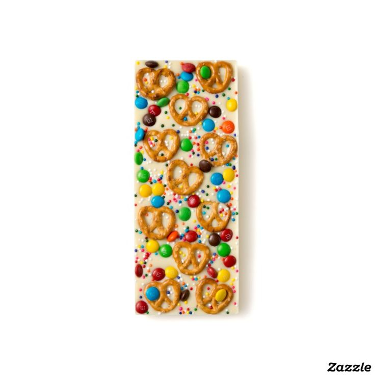 Mini Pretzel, Sprinkles and Chocolate Candy White Chocolate Bar
