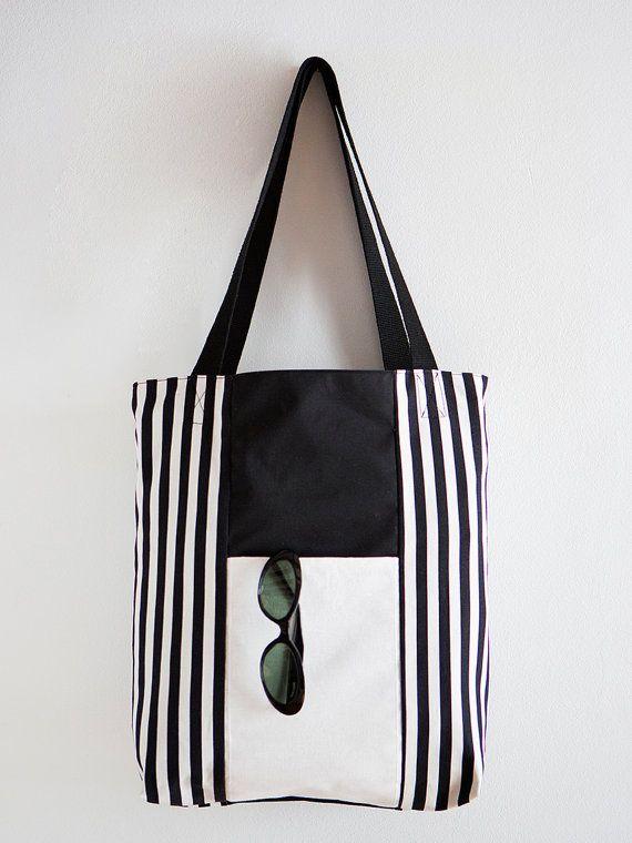 Black and white striped Tote Bag by Brilla Design Visit my blog at https://brilladesign.wordpress.com/
