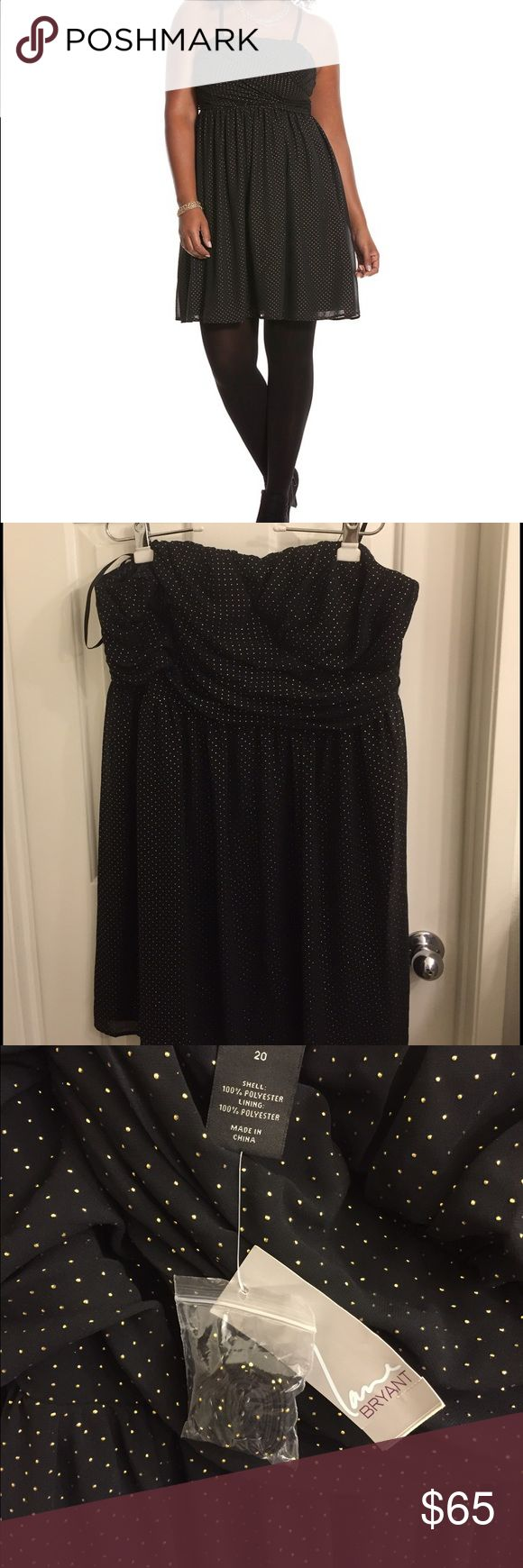 NWT Lane Bryant Black Tube dress with gold studs NWT Lane Bryant size 20 black tube dress with optional strap add-ons. Lane Bryant Dresses Strapless