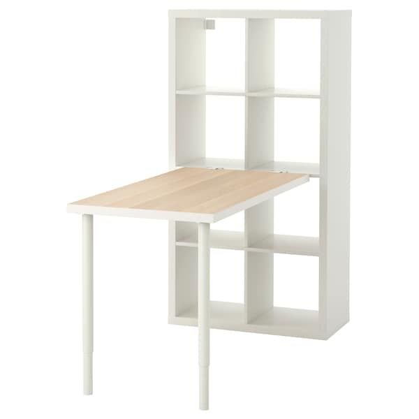 Kallax Combinaison Bureau Effet Chene Blanchi Blanc 77x147x159 Cm Ikea Agencement Bureau Ikea Kallax