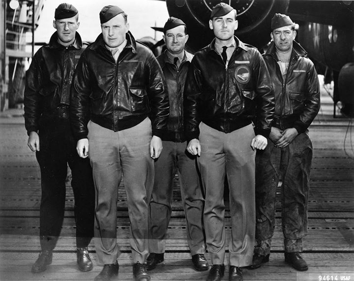 One of the Doolittle Raid B-25 bomber crews aboard USS Hornet shortly before the mission April 1942.