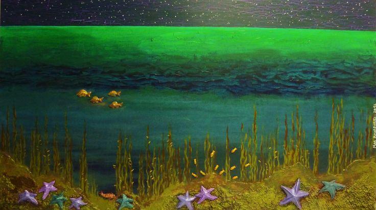 Fondo del mar con estrellas. Mar Amorrortu 2013. Tecnica mixta sobre tabla, 92x60