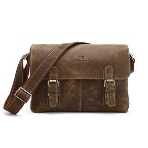 81cc6b61d2b9 Handmade Crazy Horse Leather Briefcase Messenger Shoulder Tote Bag Computer  Bag