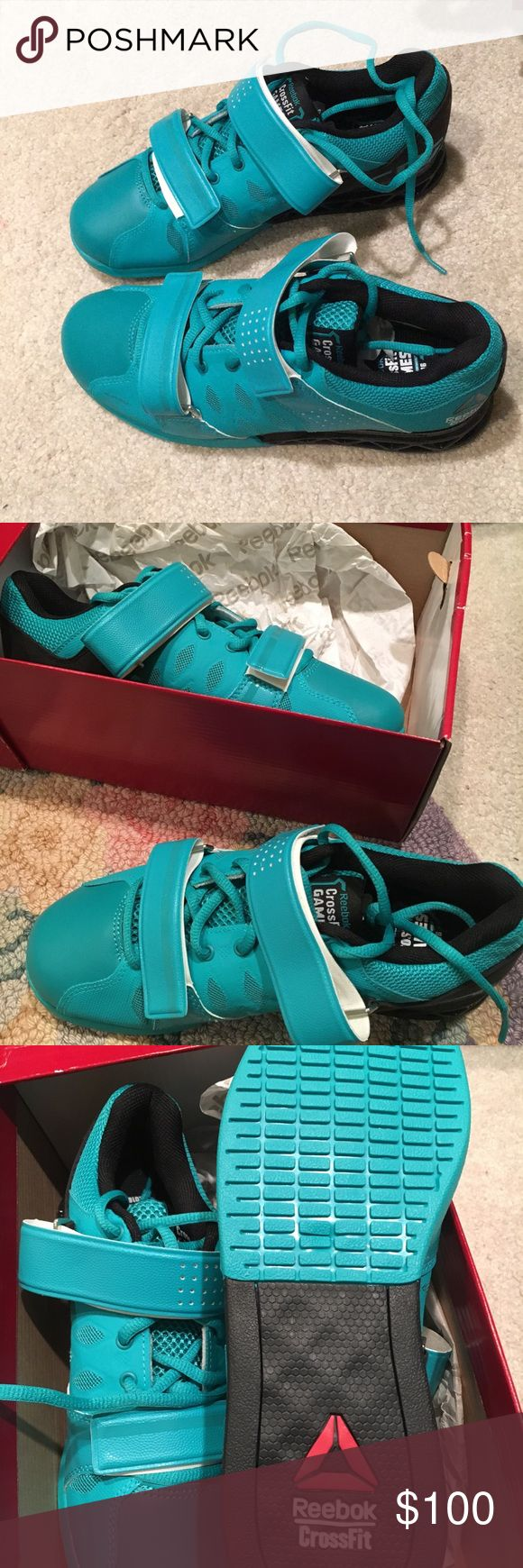 BRAND NEW Reebok CrossFit Lifter Shoes These CrossFit lifters are brand new in box. Won them from Reebok on a Twitter contest but never wore them. Super cool neon turquoise and black colors! Reebok Shoes Athletic Shoes