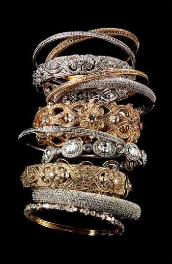 , stacked bracelets
