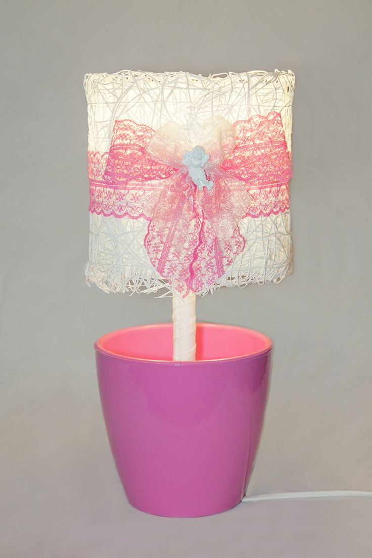 The 25 best pink lamp shade ideas on pinterest shabby chic with pink lamp shade white mesh pink bow lamp in a flowerpot lace illuminator gift for children aloadofball Gallery