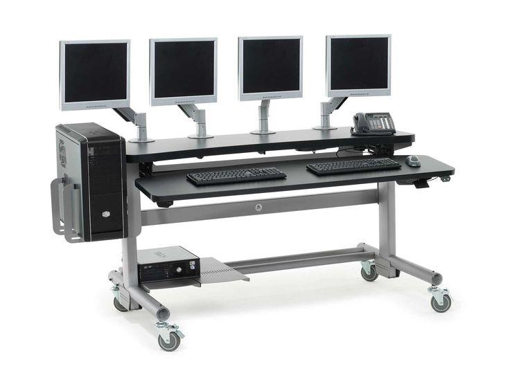 Computer Table Furniture Design: Anthro Adjustable Height Modular Computer Desks