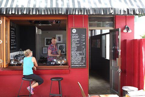 PUK Espresso: a new cafe in Brisbanes Kangaroo Point: Cafes, Puk Espresso, Cafe Coffee, Cafe Spaces, Kangaroos Points, Brisbane Kangaroos, Front Window, Espresso Window, Window Inspiration