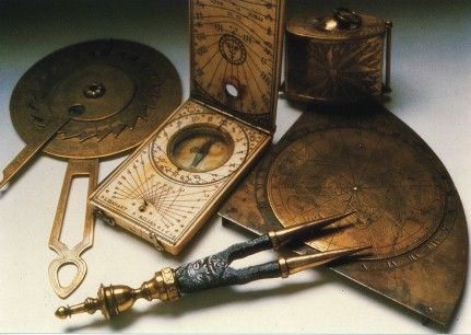 Vintage Navigation Tools. The tools clock wise from left are: a) astrolabe, b) compass with transverse board, c) lead and line, d) quadrant, e) divider.