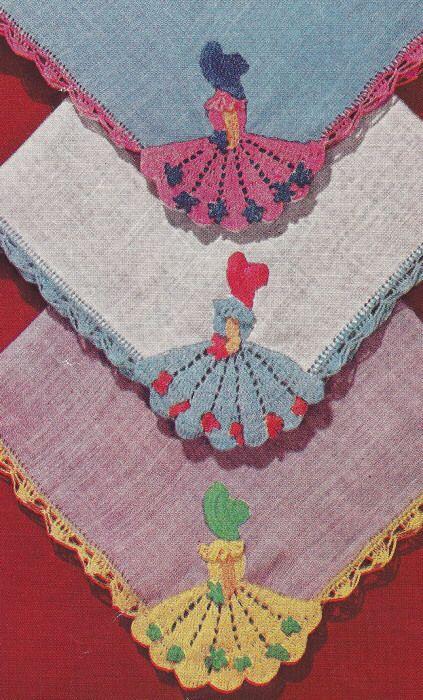 Vintage Crochet Pattern Crinoline Lady Handkerchiefs   eBay