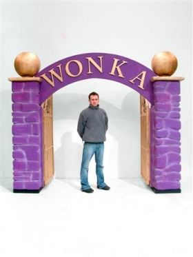 Willy Wonka Factory Gates- could change to Emerald City Gates and hang curtain with wizard behind it if we had a spot to put the curtain rod.