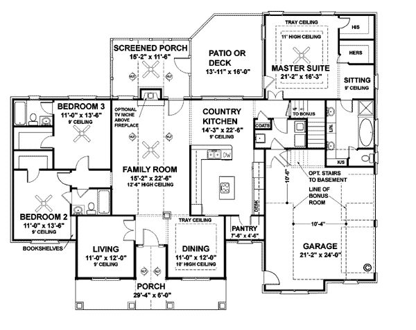 Colonial Country House Plan 92443