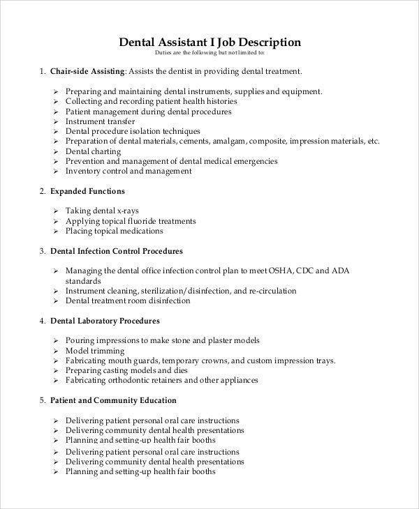 Dental Assistant Job Description For Resume Up To Date Sample Dental Assistant Job Descri Dental Assistant Job Description Dental Assistant Jobs Dentist Resume