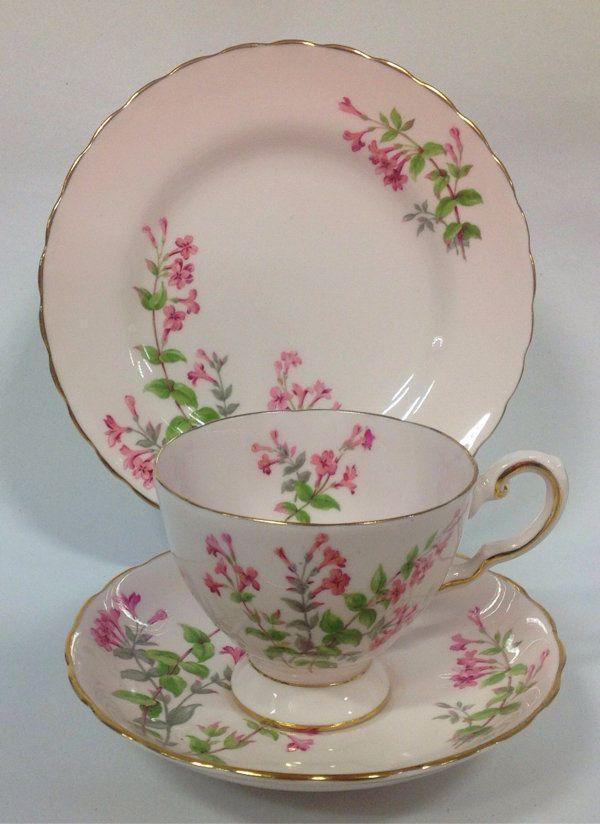 Tuscan English China Vintage Tea Set Tea Cup Trio Pink Flowers Hand painted