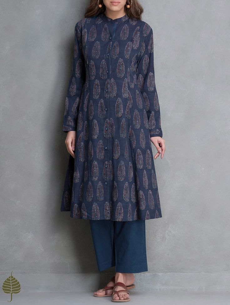 Buy Indigo Black Madder Ajrakh Printed Cotton Kurta with Pockets by Jaypore Apparel Tunics & Kurtas Online at Jaypore.com