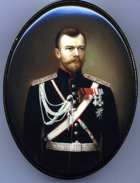 "Fedoskino. Russian Lacquer Art Titled ""Tsar Nikolay II"" Artist Sokolova"