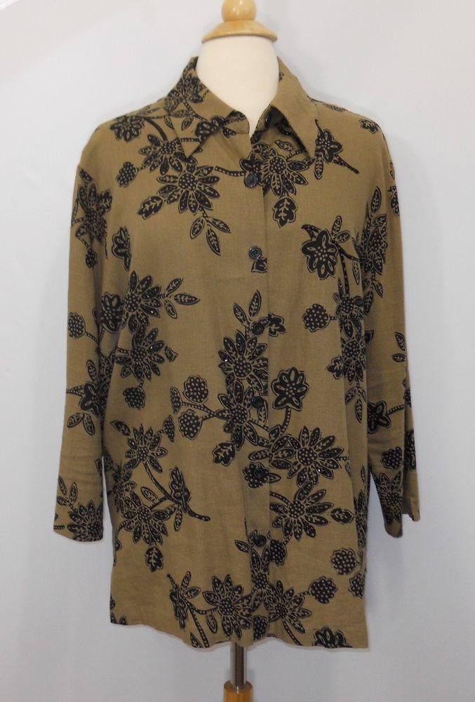Coldwater Creek Button Down Shirt Rayon Linen Brown Floral Embellished Sz Large #ColdwaterCreek #ButtonDownShirt #Casual