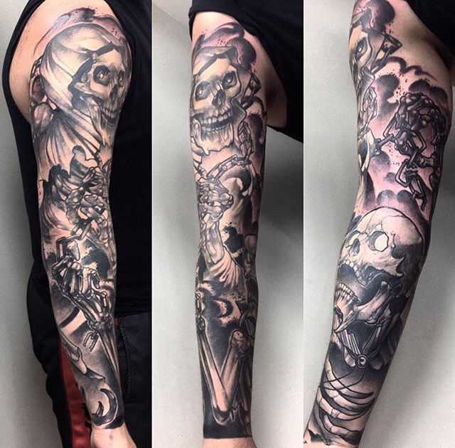 ca61a1040 Black and grey shade skull and skilled grim reaper full sleeve tattoo.  Realistic skeleton tattoo. Chained grim reaper skeleton tattoo sleeve.