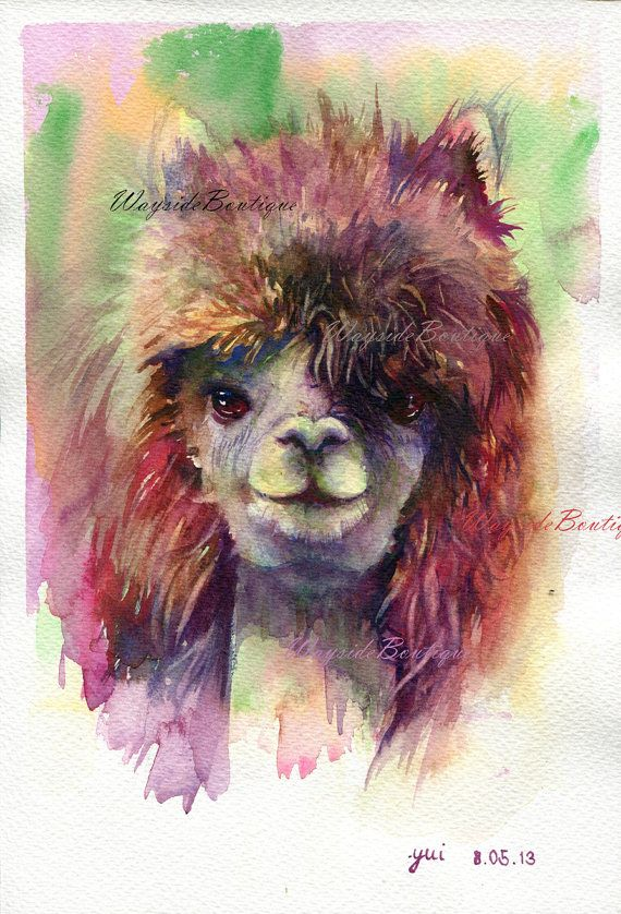 Alpaca - ORIGINAL watercolor painting 7.5x11 inches