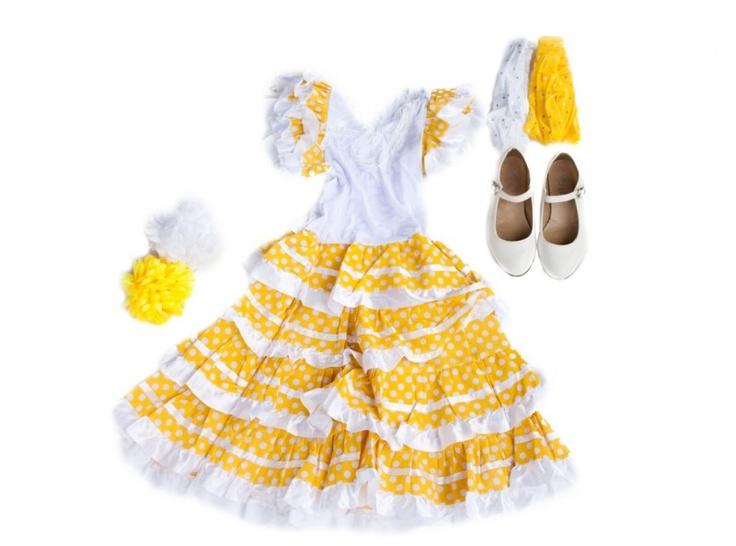 Spaanse jurk pakket Señorita geel/wit NIEUW + GRATIS haarband + GRATIS Bloem