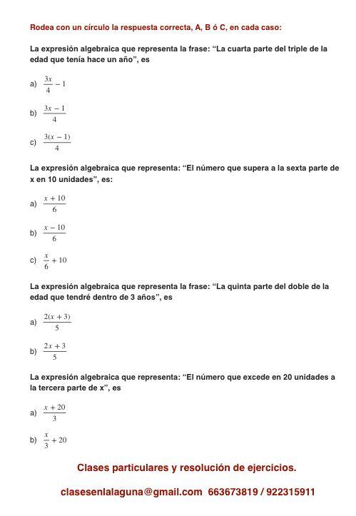 Ejercicio propuesto 5 de Expresiones Algebraicas.