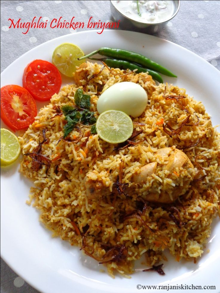 An authentic Mughlai Chicken Briyani which accompanies well with all raitas. How to make Mughali chicken briyani with stepwise pictures.