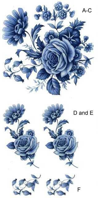 4312 Blue Delft Rose / Wildflowers
