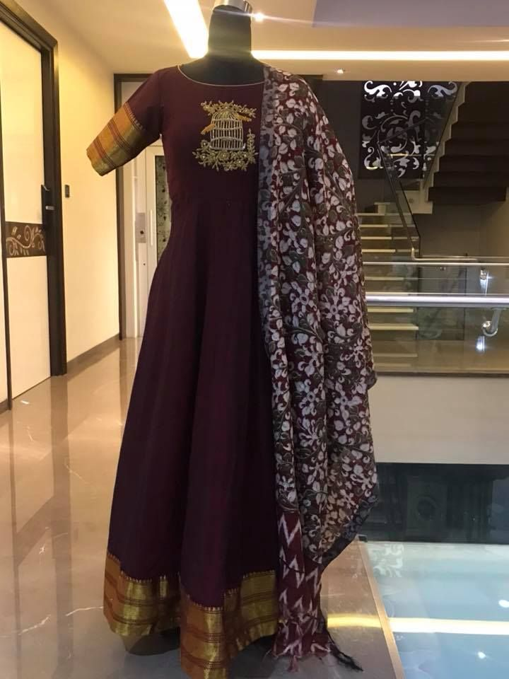 395a6f5ef5 Ananrkali dress with bird and cage design hand embroidery gold thread work.  Price : 6500 INRTo order whatsapp 7013728388 10 June 2018