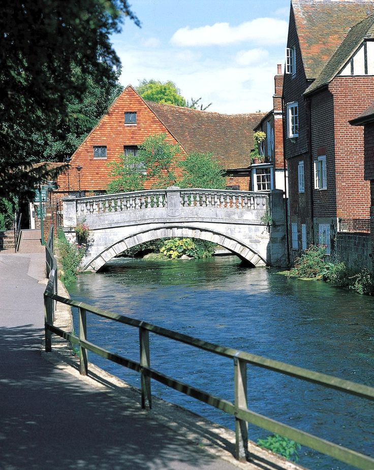 The City Mill straight ahead, Winchester, Hampshire, England. Rebuilt in 1743 to replace a medieval mill.