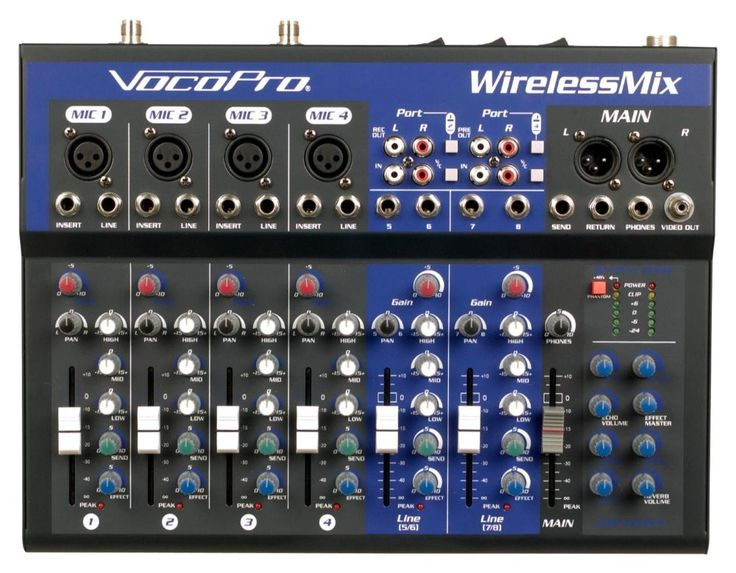 VOCOPRO WirelessMix-2 All-In-One Live Sound / Karaoke Mixer with 2 UHF Wireless Mics & SD Audio Recorder